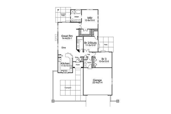 European Floor Plan - Main Floor Plan Plan #57-680
