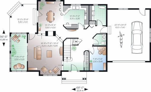 Traditional Floor Plan - Main Floor Plan Plan #23-872