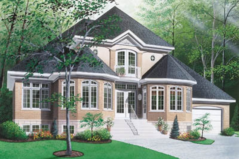 European Style House Plan - 3 Beds 2.5 Baths 2404 Sq/Ft Plan #23-276 Exterior - Front Elevation