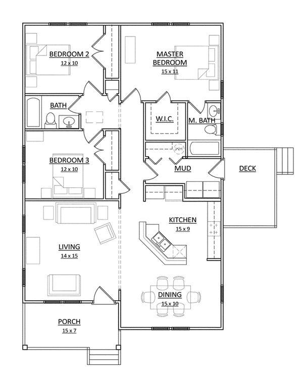 Craftsman Floor Plan - Main Floor Plan Plan #936-25