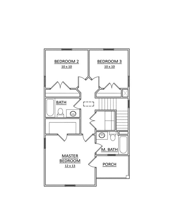 Traditional Floor Plan - Upper Floor Plan Plan #936-27