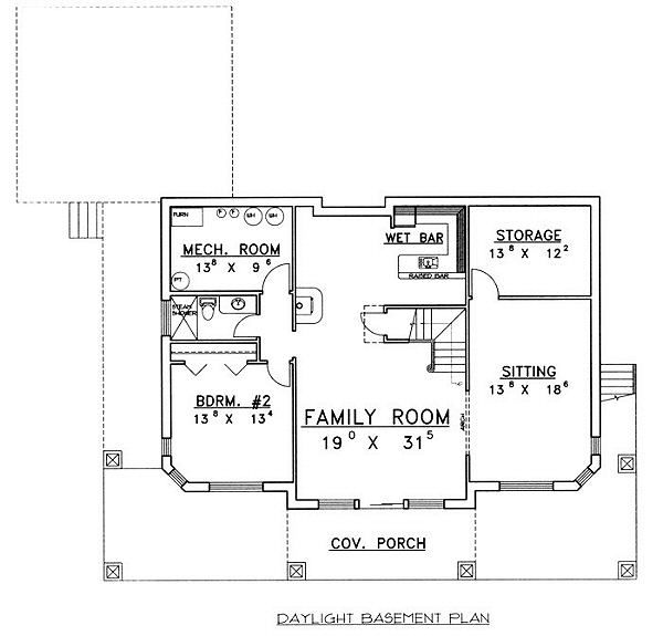 Cabin Floor Plan - Lower Floor Plan Plan #117-512