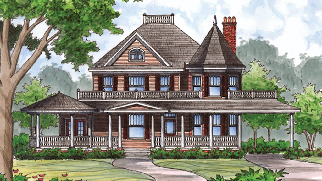 Victorian style house plan 4 beds 2 5 baths 2781 sq ft for Queen anne house plans with turrets