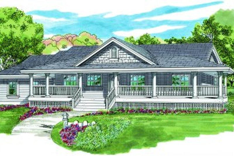Ranch Style House Plan - 3 Beds 2 Baths 1578 Sq/Ft Plan #47-334 Exterior - Front Elevation