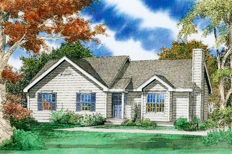 Ranch Exterior - Front Elevation Plan #405-160