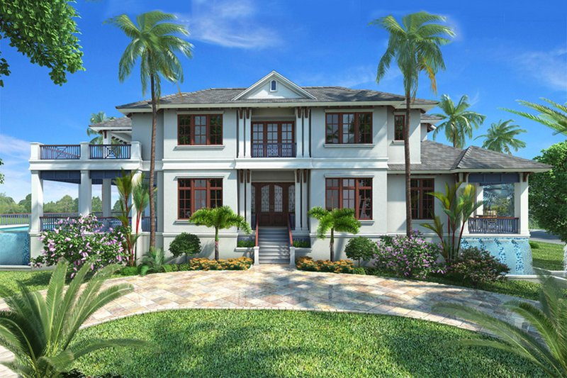 Beach Style House Plan - 5 Beds 5.5 Baths 8318 Sq/Ft Plan #27-465 Exterior - Front Elevation