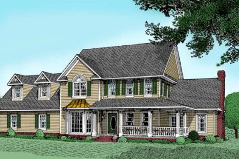 Farmhouse Style House Plan - 4 Beds 4 Baths 3272 Sq/Ft Plan #11-209 Exterior - Front Elevation