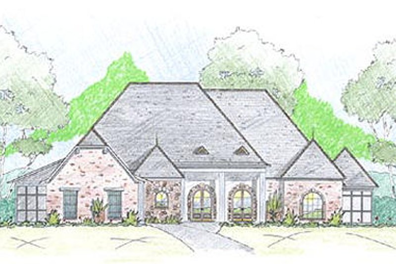 European Exterior - Front Elevation Plan #36-473