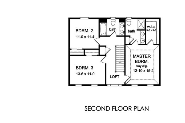 Traditional Floor Plan - Upper Floor Plan Plan #1010-222