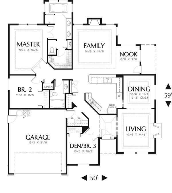 Ranch Floor Plan - Main Floor Plan Plan #48-592