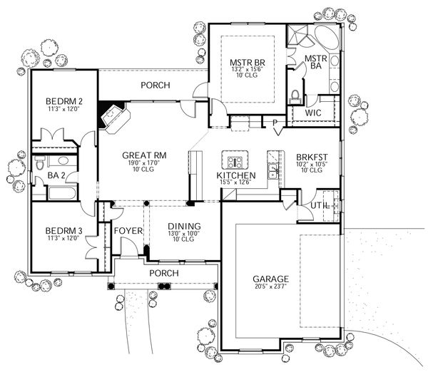 Dream House Plan - Traditional Floor Plan - Main Floor Plan #80-111