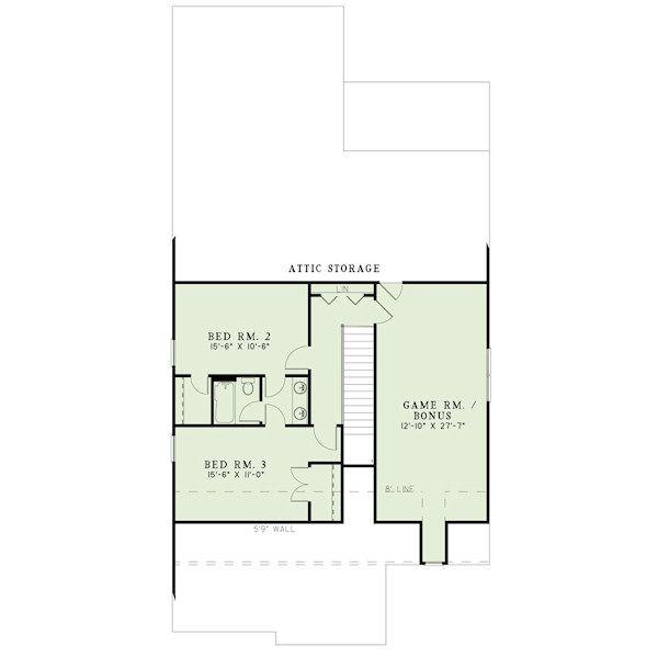 Bungalow Floor Plan - Upper Floor Plan Plan #17-2408