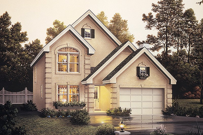 Architectural House Design - European Exterior - Front Elevation Plan #57-134