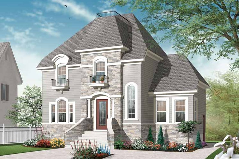 European Exterior - Front Elevation Plan #23-2504