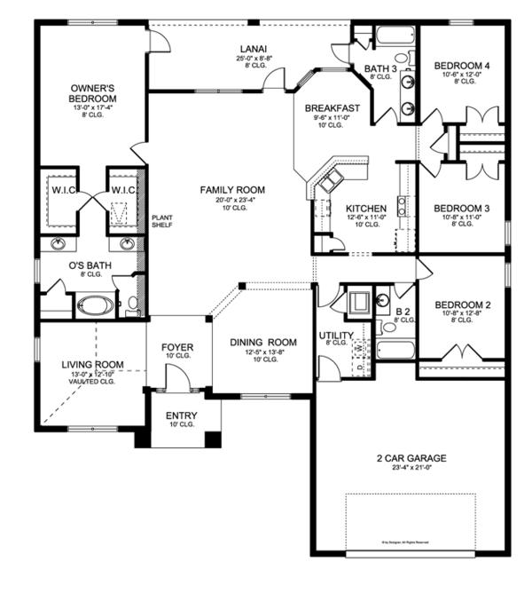 Mediterranean Floor Plan - Main Floor Plan Plan #1058-27