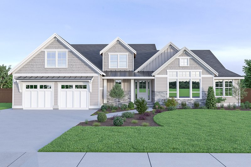 Craftsman Exterior - Front Elevation Plan #1070-43