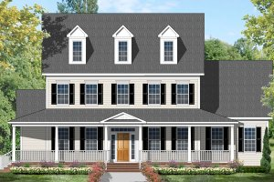 Colonial Exterior - Front Elevation Plan #1053-56