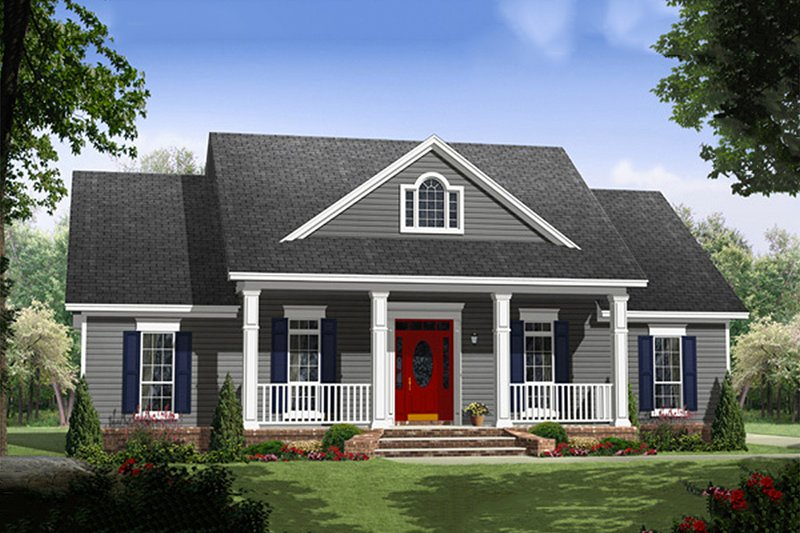 Colonial Style House Plan - 3 Beds 2 Baths 1640 Sq/Ft Plan #21-338 Exterior - Front Elevation