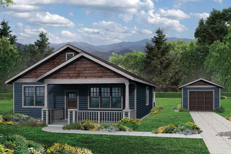Cottage Style House Plan - 3 Beds 2 Baths 1275 Sq/Ft Plan #124-978 Exterior - Front Elevation