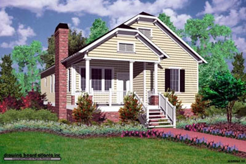Cottage Style House Plan - 3 Beds 2 Baths 1428 Sq/Ft Plan #30-105 Exterior - Front Elevation