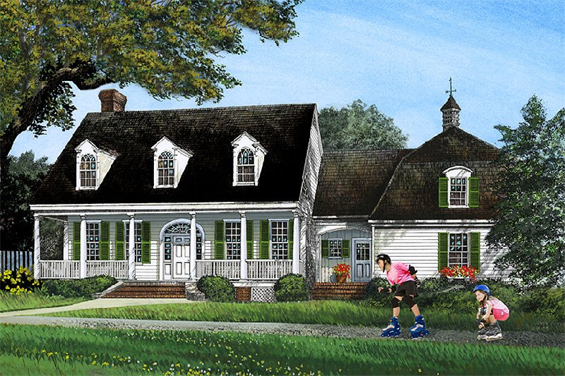Southern Style House Plan - 5 Beds 3.5 Baths 2806 Sq/Ft Plan #137-276 Exterior - Front Elevation