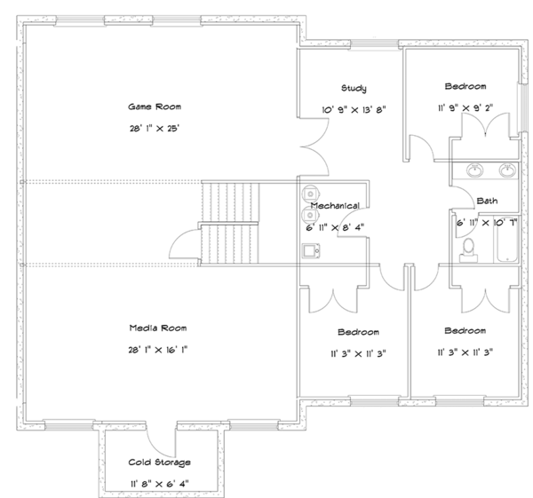 Ranch Floor Plan - Lower Floor Plan #1060-23