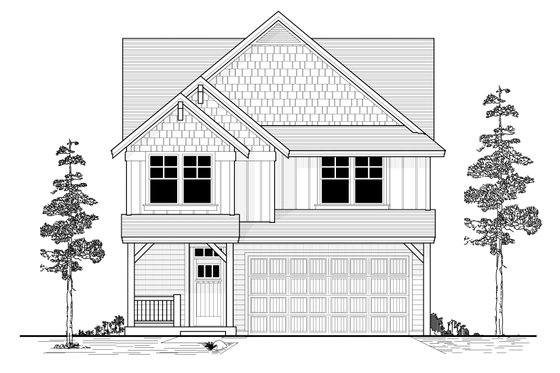 Craftsman Exterior - Front Elevation Plan #53-521