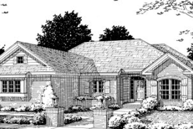 Architectural House Design - Ranch Exterior - Front Elevation Plan #20-357