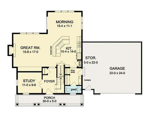 Colonial Floor Plan - Main Floor Plan Plan #1010-33