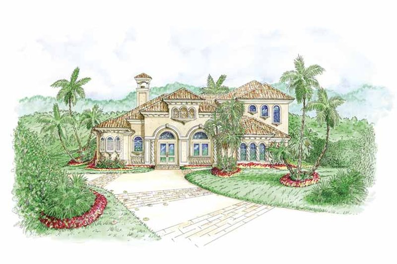 Mediterranean Exterior - Front Elevation Plan #1017-99
