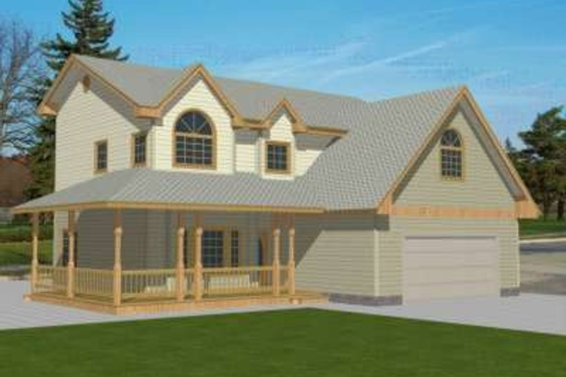 Country Style House Plan - 4 Beds 2.5 Baths 1804 Sq/Ft Plan #117-336 Exterior - Front Elevation