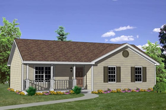 Ranch Exterior - Front Elevation Plan #116-242