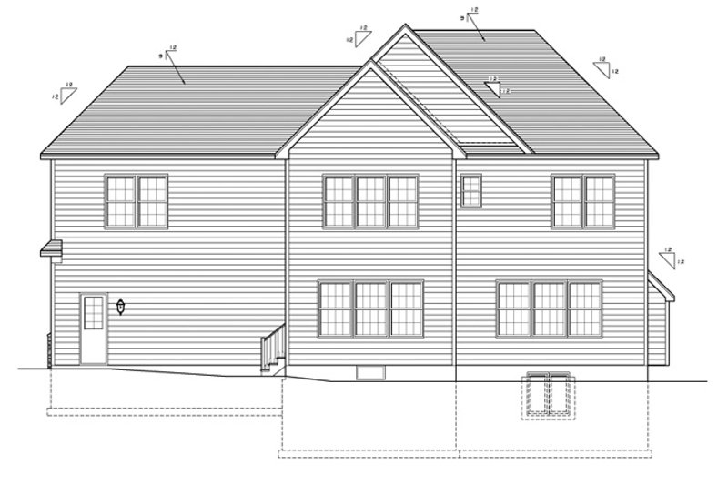 Colonial Exterior - Rear Elevation Plan #1010-86 - Houseplans.com