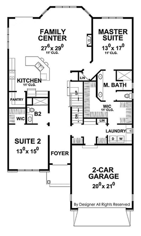 House Plan Design - Country Floor Plan - Main Floor Plan #20-2253