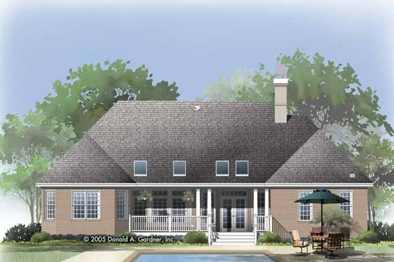 Traditional Exterior - Rear Elevation Plan #929-819 - Houseplans.com
