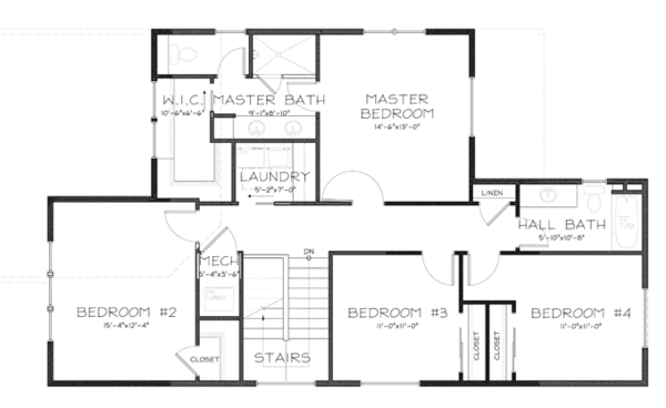 Craftsman Floor Plan - Upper Floor Plan Plan #895-80