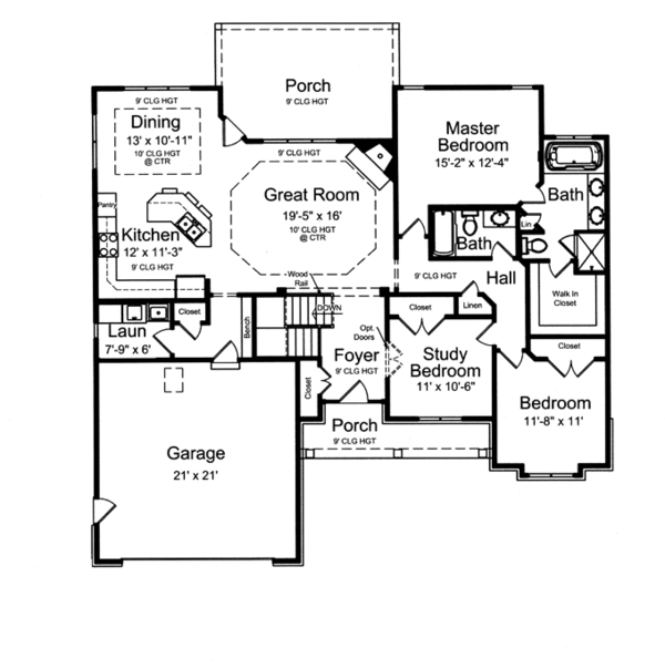 House Design - Ranch Floor Plan - Main Floor Plan #46-832
