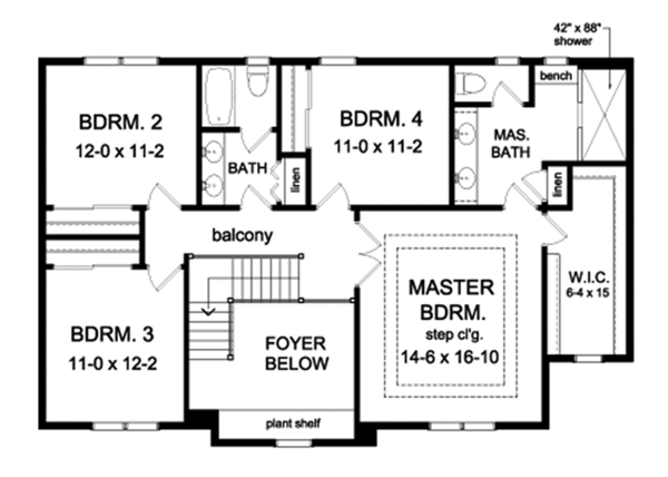 Colonial Floor Plan - Upper Floor Plan Plan #1010-164