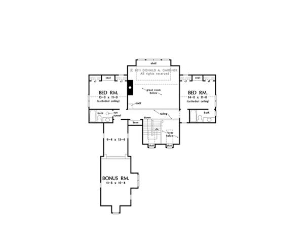 Cottage Floor Plan - Upper Floor Plan Plan #929-960