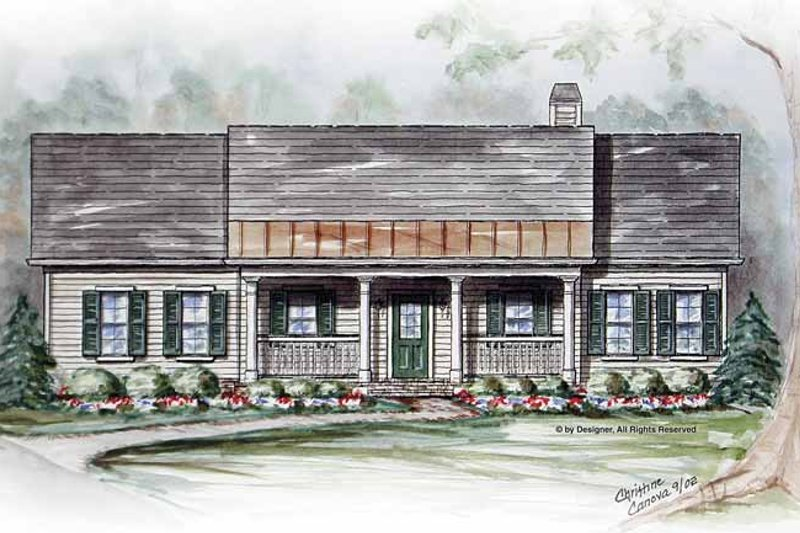 Country Exterior - Front Elevation Plan #54-309