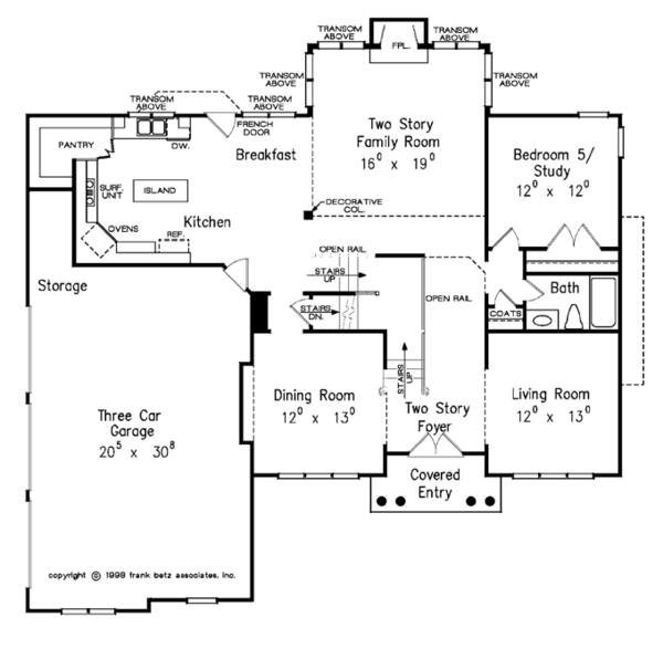 Colonial Floor Plan - Main Floor Plan Plan #927-564