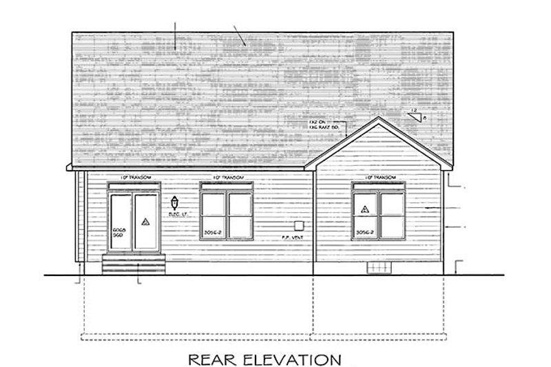 Ranch Exterior - Rear Elevation Plan #1010-22 - Houseplans.com