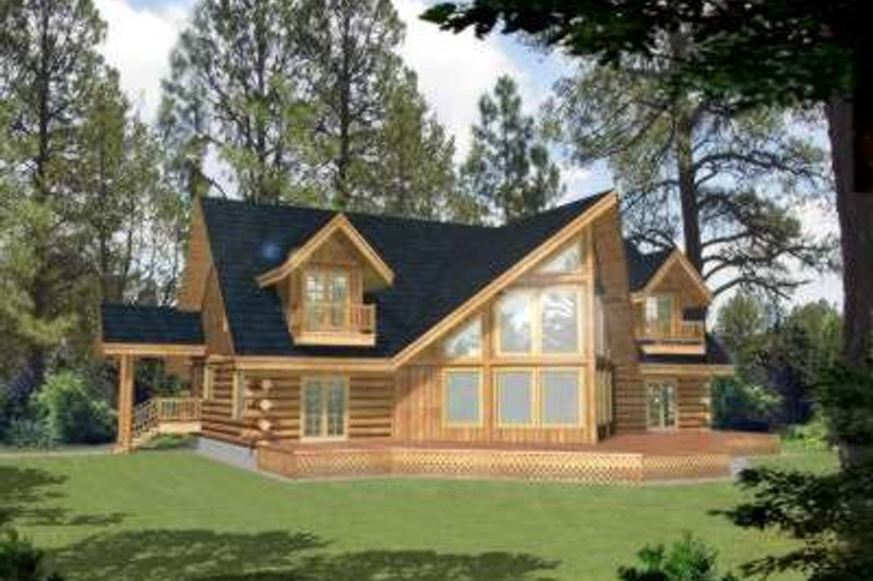 Log Exterior - Front Elevation Plan #117-410