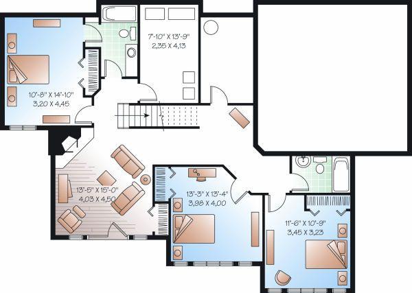 House Plan Design - Traditional Floor Plan - Lower Floor Plan #23-850