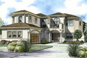 Mediterranean Style House Plan - 6 Beds 6.5 Baths 5281 Sq/Ft Plan #420-246 Exterior - Front Elevation