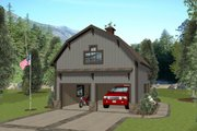 Country Style House Plan - 1 Beds 1 Baths 562 Sq/Ft Plan #56-703