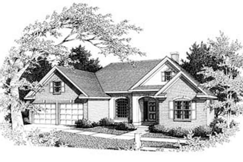Traditional Style House Plan - 3 Beds 2.5 Baths 1845 Sq/Ft Plan #10-113 Exterior - Front Elevation