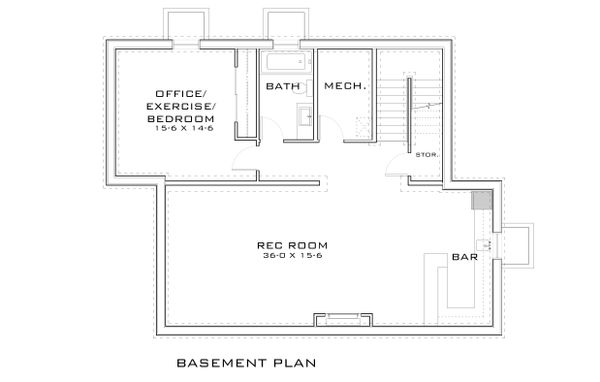 Contemporary Floor Plan - Lower Floor Plan Plan #909-9