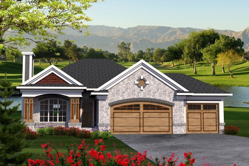Ranch Style House Plan - 3 Beds 2 Baths 1500 Sq/Ft Plan #70-1207 Exterior - Front Elevation