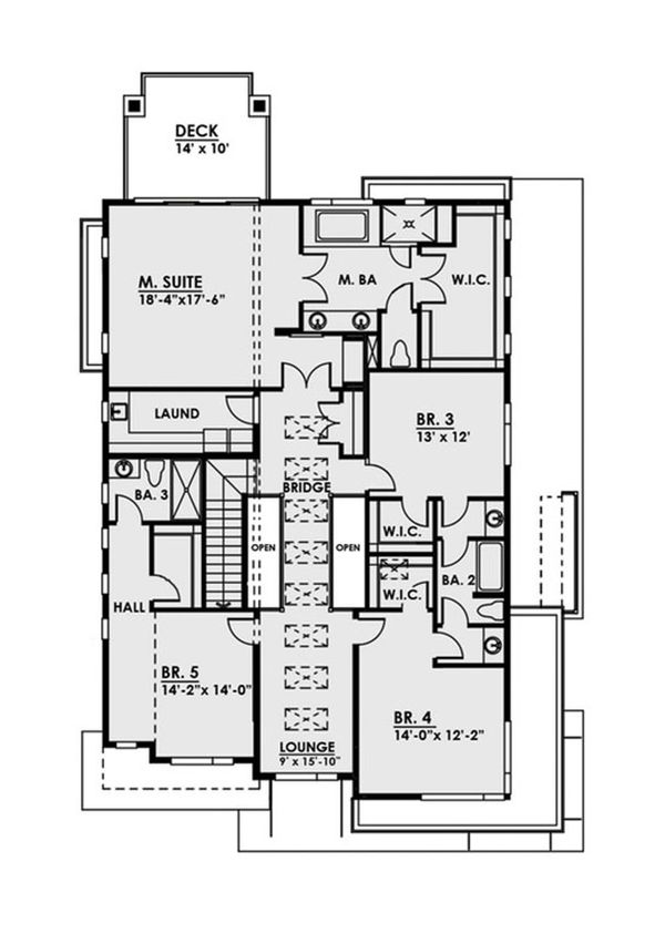 Contemporary Floor Plan - Upper Floor Plan Plan #1066-38